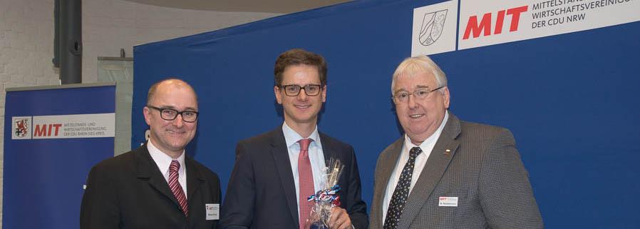 Michael Kremer mit Carsten Linnemann und dem MIT Rhein-Sieg Vorsitzenden Norbert Nettekoven (v.l.n.r.)